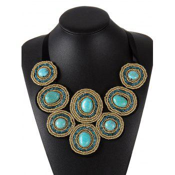 Ethnic Faux Turquoise Beaded Necklace