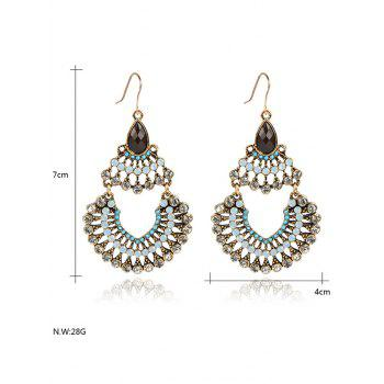 Rhinestoned Hollow Out Drop Earrings - YELLOW