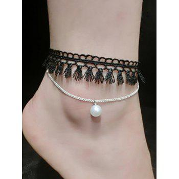 Handmade Faux Pearl Tassel Layered Anklet - SILVER SILVER
