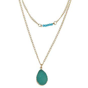 Vintage Faux Turquoise Water Drop Necklace - GREEN