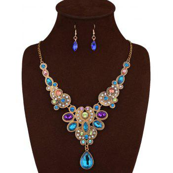 Water Drop Fake Crystal Necklace and Earrings - BLUE
