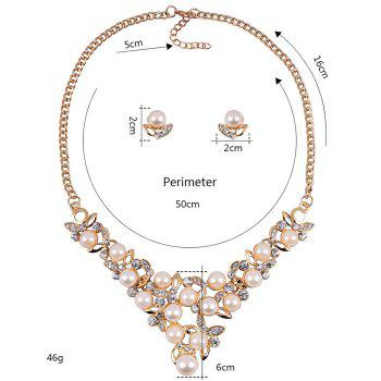 Rhinestone Faux Pearl Wedding Party Jewelry Set - YELLOW
