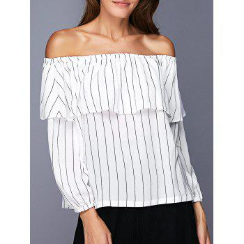 Trendy Off The Shoulder Flounce Striped Women's Blouse