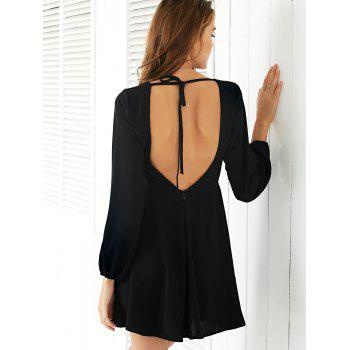 Trendy Long Sleeve Backless Solid Color Women's Dress - BLACK XL