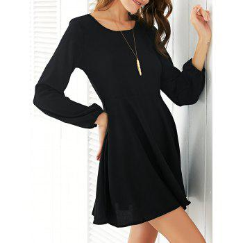 Trendy Long Sleeve Backless Solid Color Women's Dress