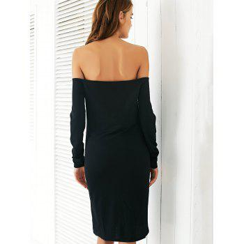 Chic Off The Shoulder Black Slimming Women's Dress - XL XL