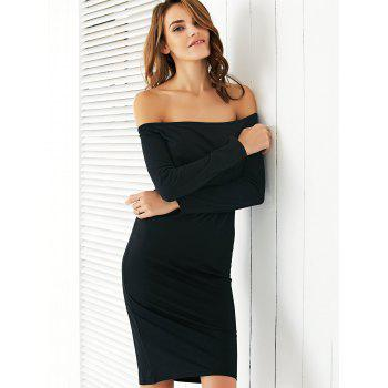 Chic Off The Shoulder Black Slimming Women's Dress - BLACK BLACK