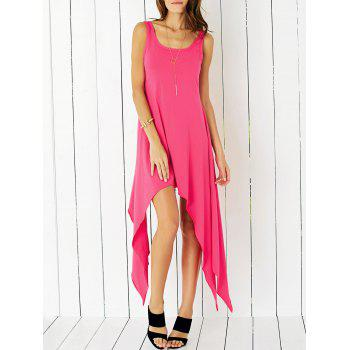 Charming Scoop Neck Asymmetrical Solid Color Women's Dress