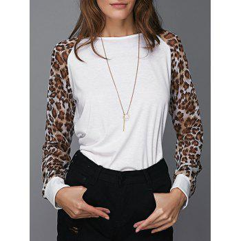 Chic Round Neck Leopard Splicing Women's T-Shirt