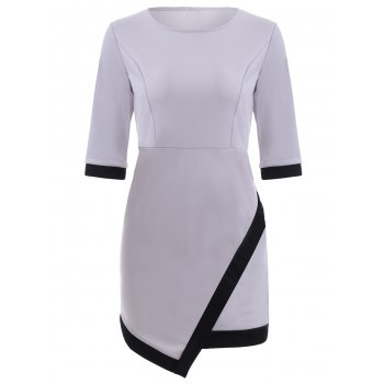 Chic Hit Color Spliced Asymmetrical Women's Dress
