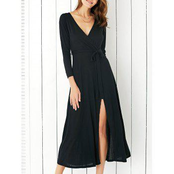 Chic Plunging Neck High Slit Surplice Women's Dress