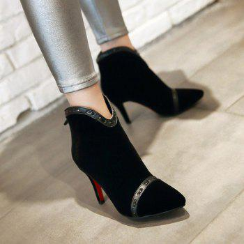 Graceful Pointed Toe and Stiletto Heel Design Women's Ankle Boots - BLACK 38