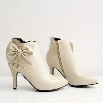 Sweet Bow and Pointed Toe Design Women's Ankle Boots