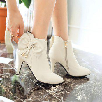 Sweet Bow and Pointed Toe Design Women's Ankle Boots - OFF WHITE 39