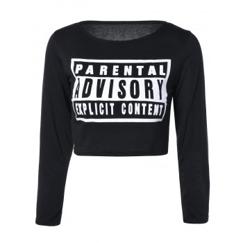 Stylish Long Sleeve Letter Crop Top For Women