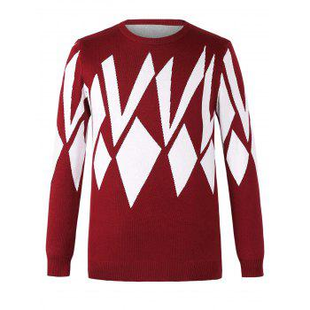 Chic Geometric Design Round Neck Long Sleeves Sweater For Men