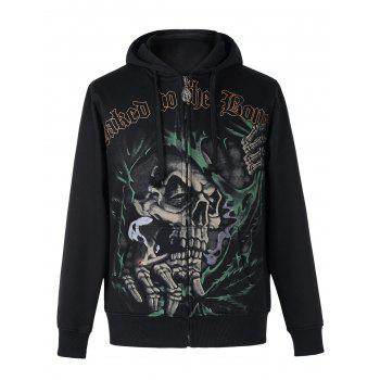 Active Skull Print Zipper Flying Long Sleeves Thicken Hoodie For Men