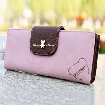 Cute Color Block and Bear Design Women's Clutch Wallet -  PINK