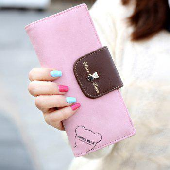 Cute Color Block and Bear Design Women's Clutch Wallet