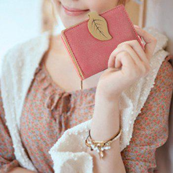 Trendy Leaf and Bi-Fold Design Women's Small Wallet -  PEACH RED