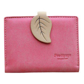 Trendy Leaf and Bi-Fold Design Women's Small Wallet - PEACH RED PEACH RED