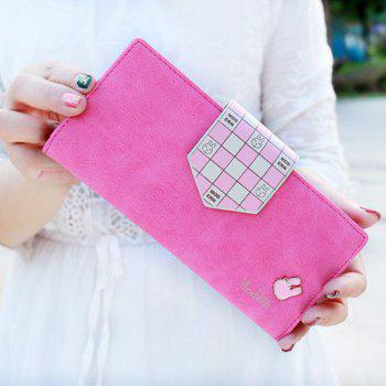 Cute Rabbit and Plaid Design Women's Wallet - ROSE ROSE