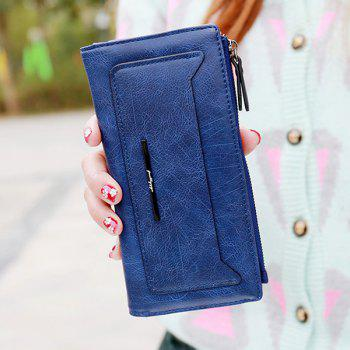 Trendy Solid Colour and Zipper Design Women's Wallet -  DEEP BLUE