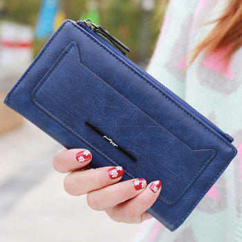 Trendy Solid Colour and Zipper Design Women's Wallet - DEEP BLUE DEEP BLUE