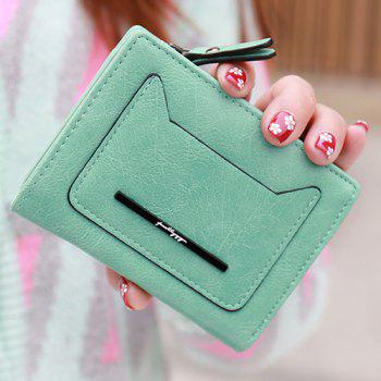 Simple Magnetic Closure and PU Leather Design Women's Wallet -  GREEN