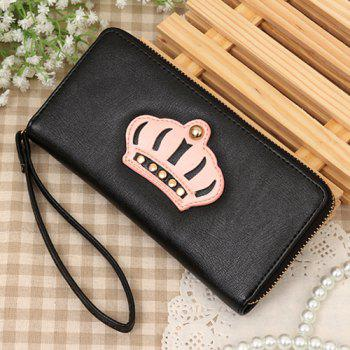 Trendy Color Block and Crown Pattern Design Women's Wallet - BLACK BLACK