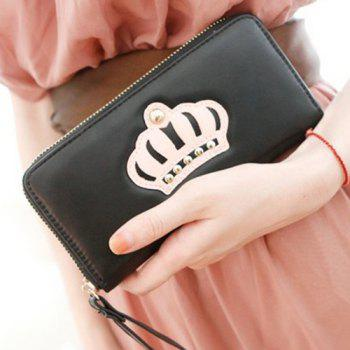 Trendy Color Block and Crown Pattern Design Women's Wallet -  BLACK
