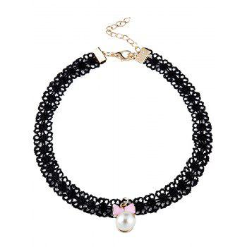 Faux Pearl Bowknot Lace Choker Necklace - PINK