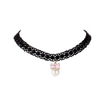 Faux Pearl Bowknot Lace Choker Necklace