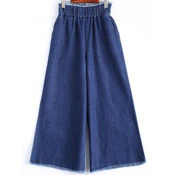 Frayed Wide Leg Scrub Jeans