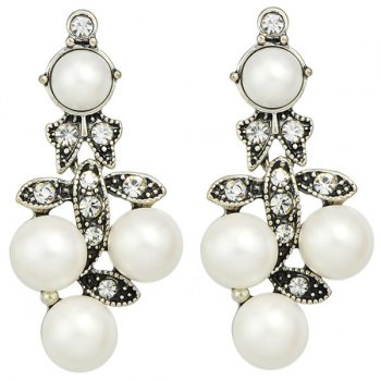 Pair of Faux Pearl Etched Rhinestone Alloy Earrings