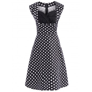 Retro Style Women's Sweetheart Neck Polka Dot Print Dress