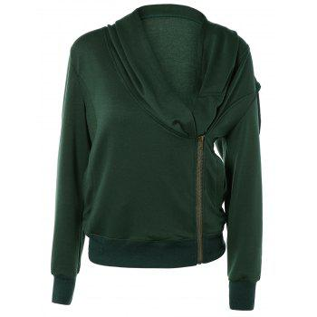 Stylish Long Sleeve Front Zip Up Slant Cowl Neck Sweatshirt
