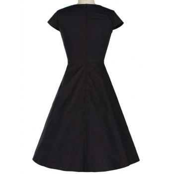 Retro Lace Spliced Faux Collar Fit and  Flare Dress - BLACK 2XL