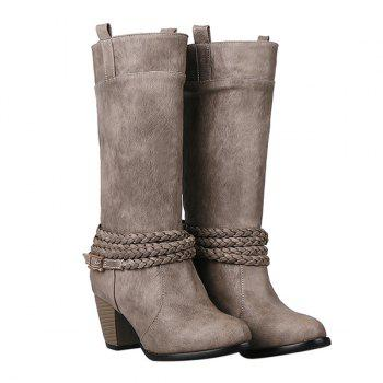 Retro Weaving and Buckle Design Women's Boots - GRAY 38