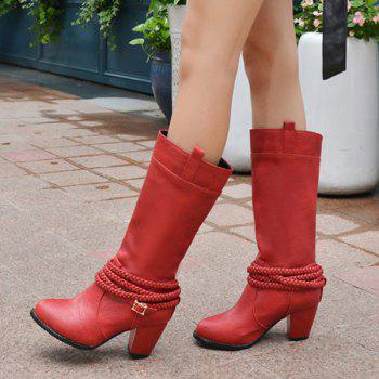 Retro Weaving and Buckle Design Women's Boots - RED 39