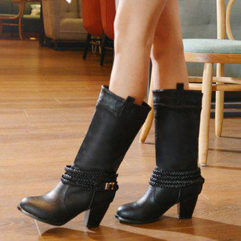 Retro Weaving and Buckle Design Women's Boots - BLACK 37