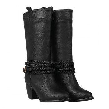 Retro Weaving and Buckle Design Women's Boots