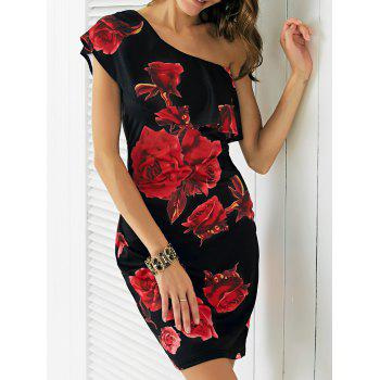 Charming One-Shoulder Floral Print Flounce Women's Dress