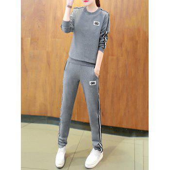 Active Round Neck Striped Women's Sport Suit - M M