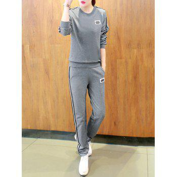 Active Round Neck Striped Women's Sport Suit - GRAY M