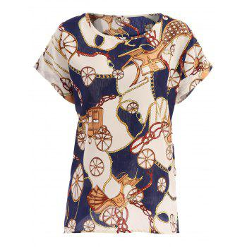 Retro Casual Women's Plus Size Scoop Neck Wheel Pattern Blouse