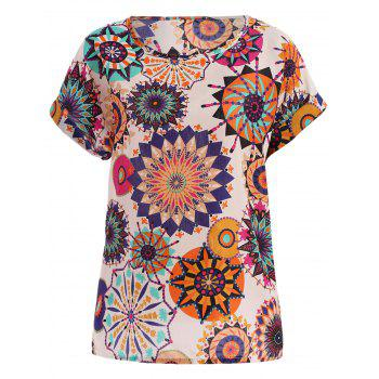 Tribal Bohemian Women's Plus Size Scoop Neck Floral Print Blouse
