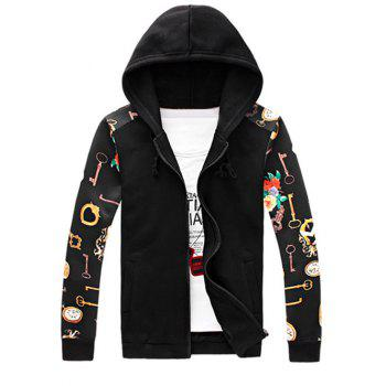 Men's Chic Zipper Fly Design Key Printed Hoodie