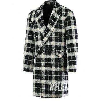 Trendy Lapel Collar Long Sleeve Black and White Checked Coat For Men
