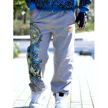 Men's Abstract Printed Drawstring Waist Loose Fitting Pants